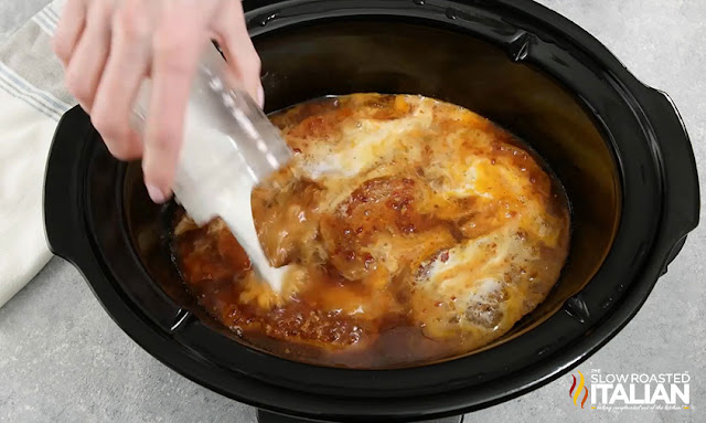 pouring the slurry in the slow cooker
