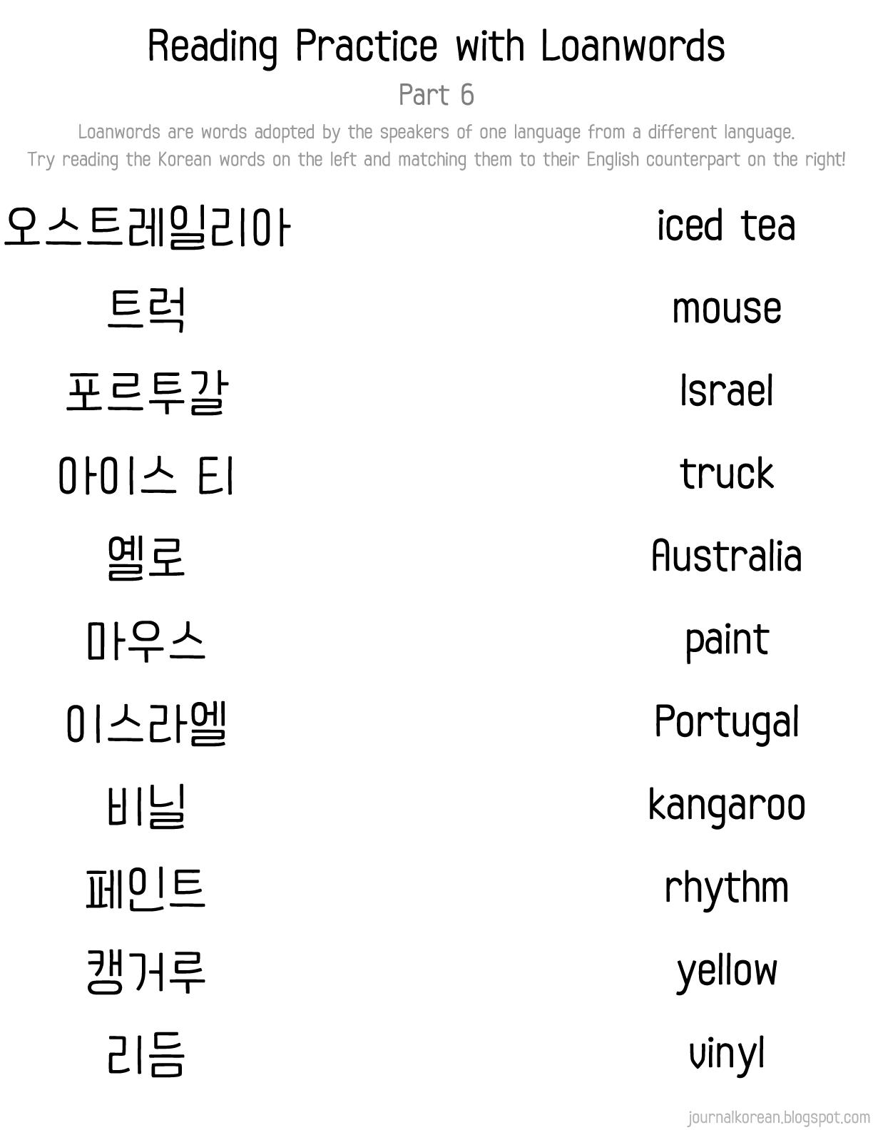 Korean Loanwords Reading Practice