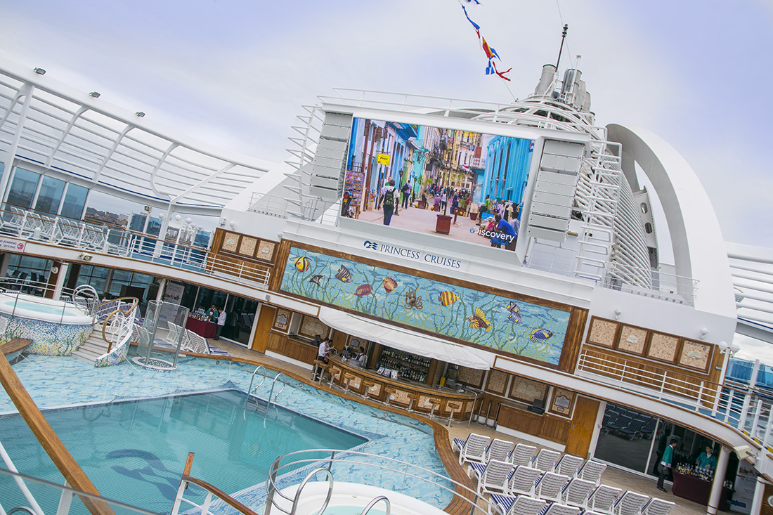 Princess Cruise main pool and bar area with cinema screen