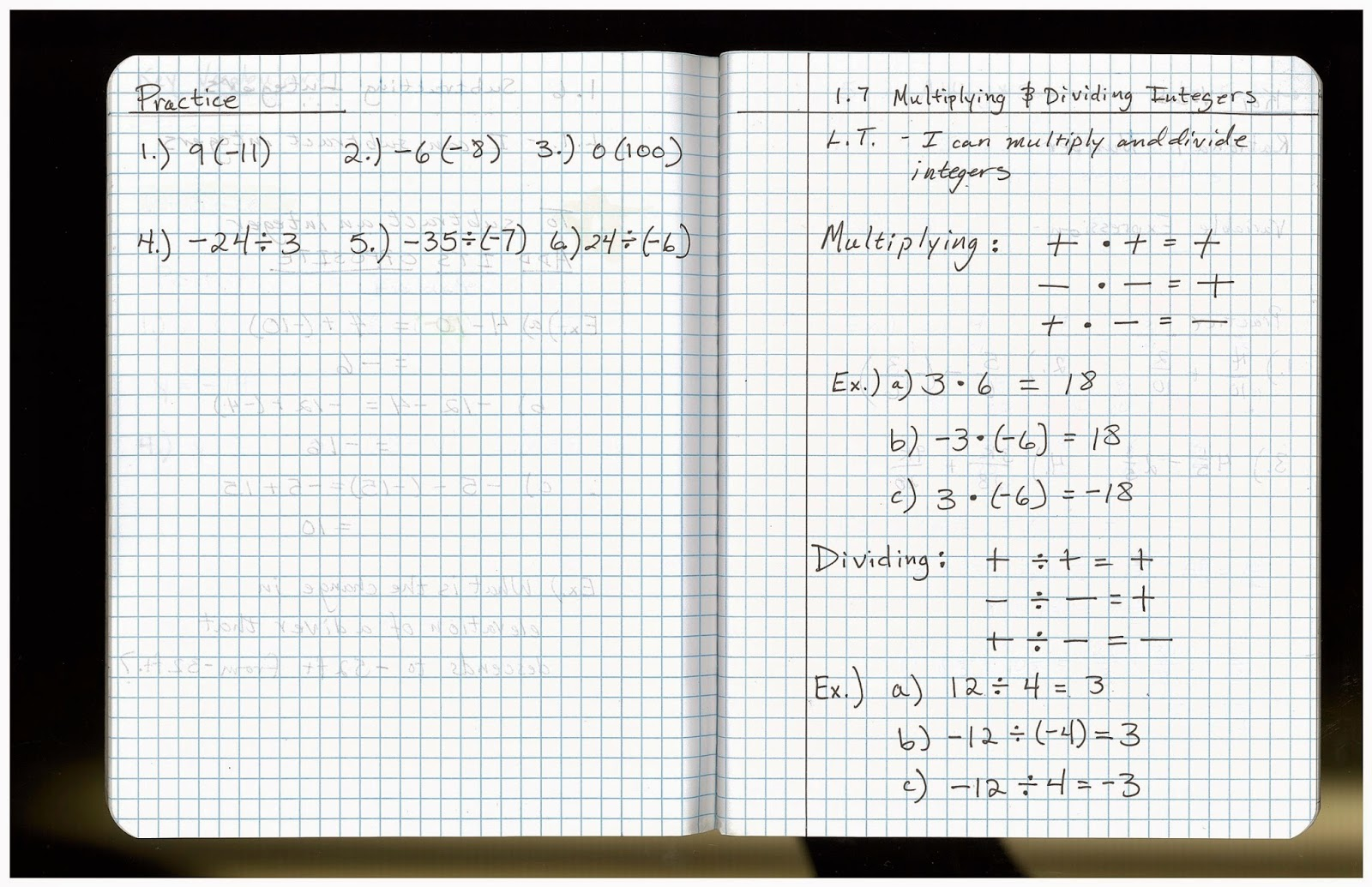Heidemann 8th Grade Math Pre Algebra Notes And Hw For 9 15