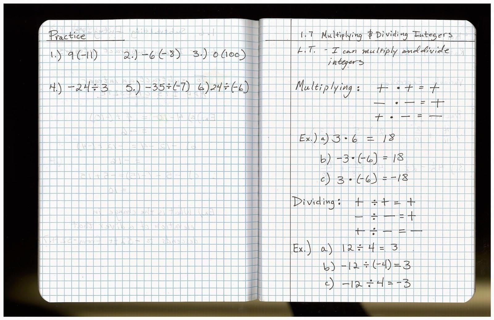 Heidemann 8th Grade Math Pre Algebra Notes And Hw For 9 15