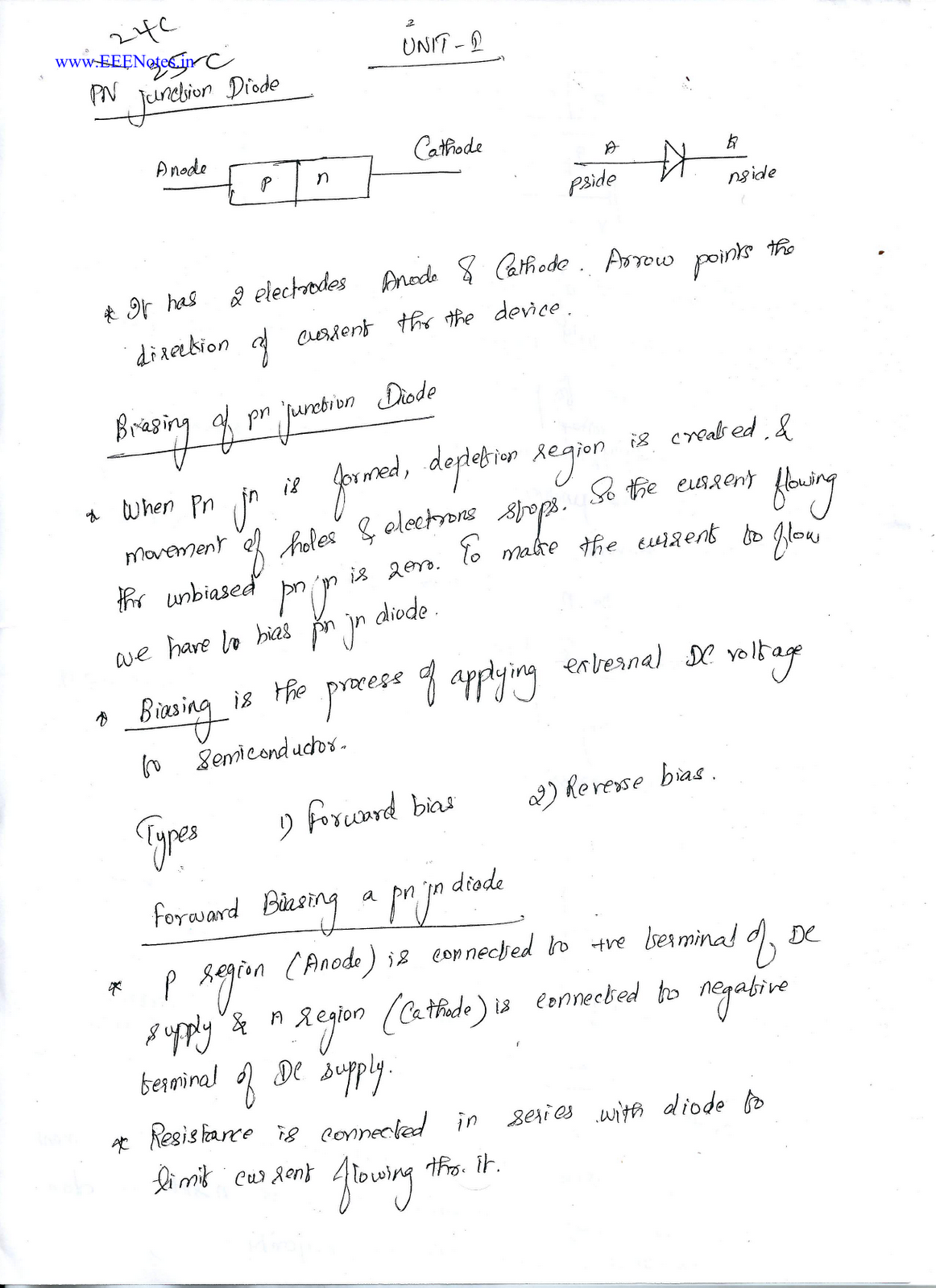 PN Junction Diode - Lecture Notes (Electronic Device and
