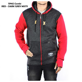 JAKET FLEECE PRIA TPHZ COMBI RED - DARK GREY MISTY