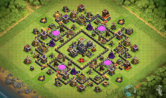 Base Farming TH 9 COC Update Bomb Tower Terbaru 2017 Tipe 15