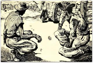 'Jogo do Osso' - Glênio Bianchetti (Linoleogravura, 1955)