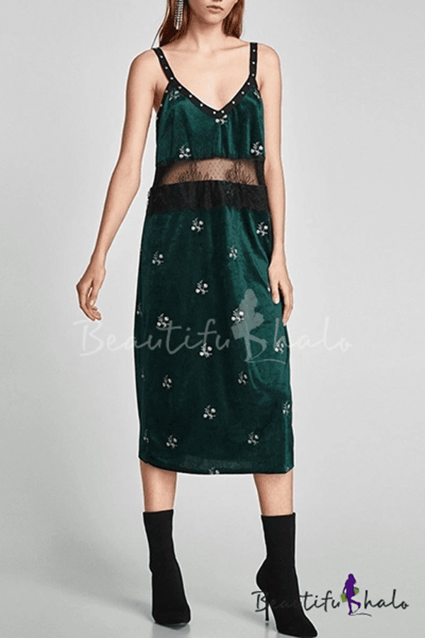 Summer Collection Floral Embroidery Lace Patchwork Beaded Velvet Midi Cami Dress
