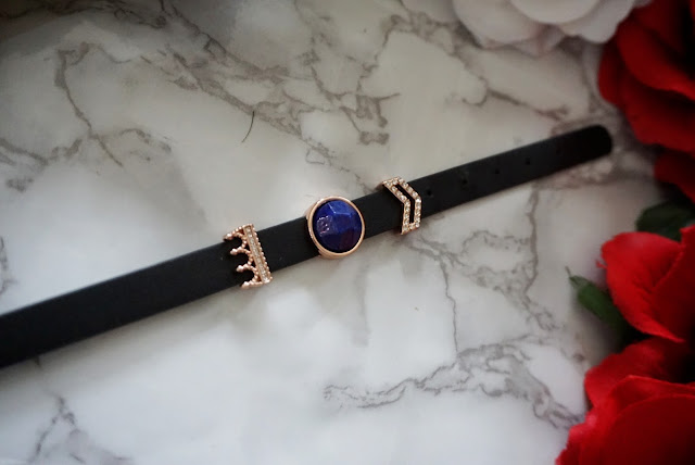 crown sparkles charm black leather slider bracelet by insider UK boutiq