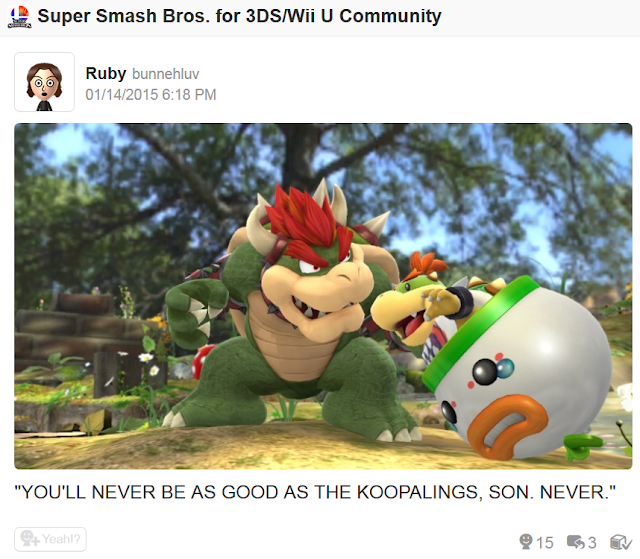 Bowser grabbing Bowser Jr. Super Smash Bros. For Wii U punishment