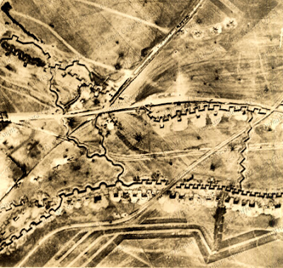 Aerial photograph of trenches near the River Scarpe, France, 3 April 1917 (D/DLI 2/6/155)
