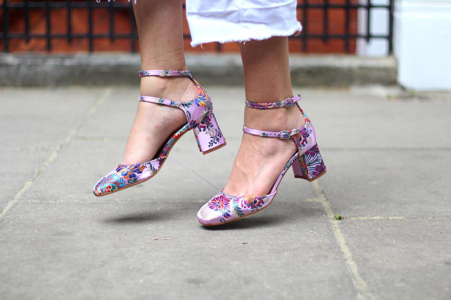 l'intervalle pink floral mid heels