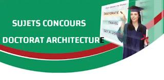 SUJETS CONCOURS DOCTORAT ARCHITECTURE
