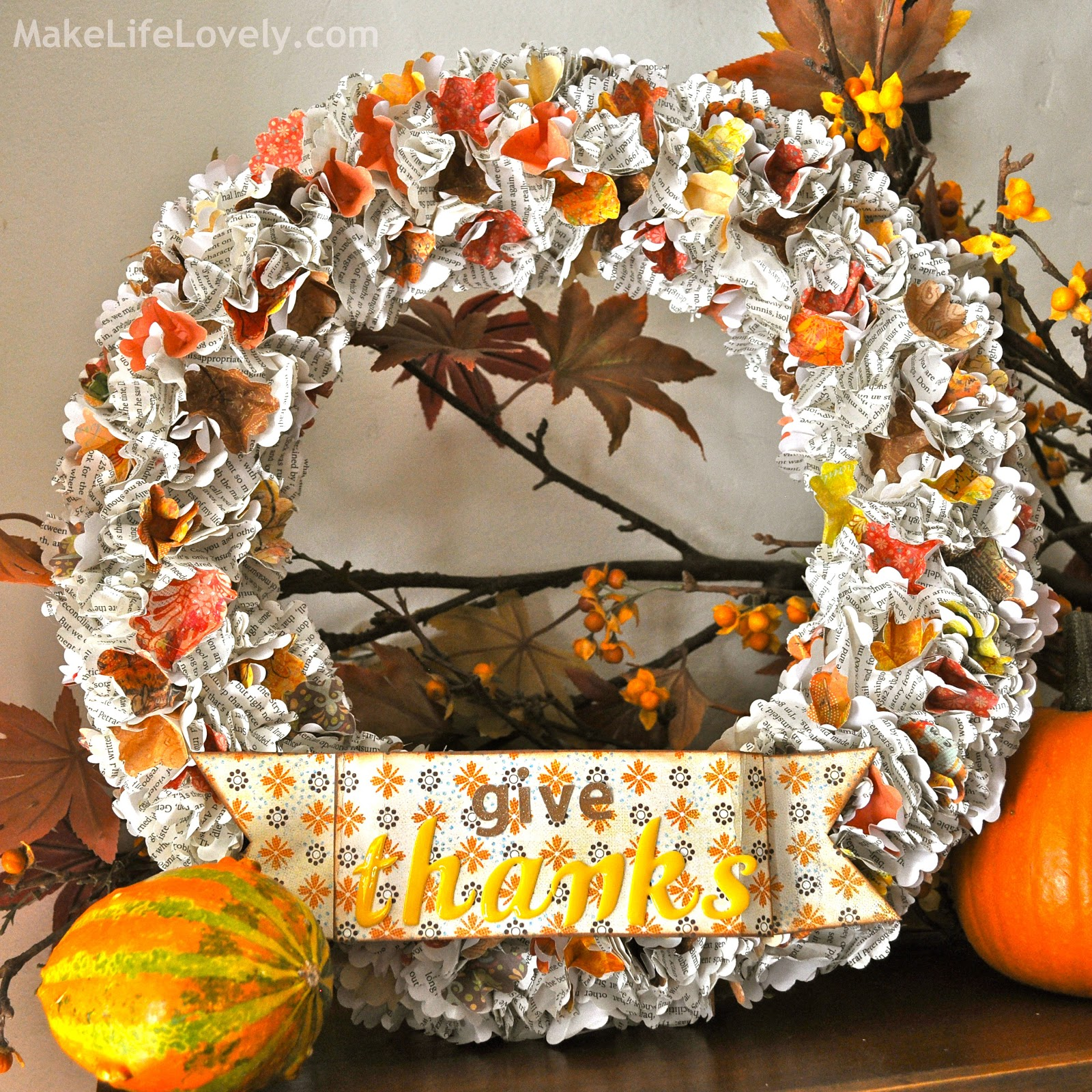 A wreath full of faux fall leaves is an exceptional choice, and it aptly decorates your door from before Halloween until right before Christmas because of its autumnal palette. Mini pumpkins are also a solid choice when it comes to your Thanksgiving wreath.