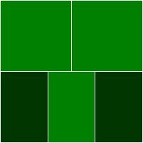 verde escuro e verde muito escuro