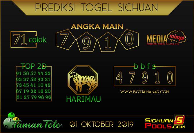 Prediksi Togel SICHUAN TAMAN TOTO 01 OKTOBER 2019