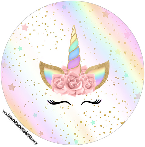 image about Unicorn Cupcake Toppers Printable identified as Unicorn with Rainbow: Free of charge Printable Cupcake Wrappers and