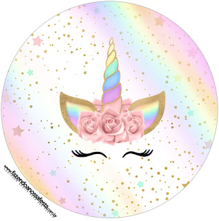Unicorn with Rainbow: Free Printable Cupcake Wrappers and Toppers.