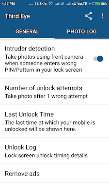 Take a photo using front camera when someone enters wrong pin or password, Last Unlock time, trace or find my phone