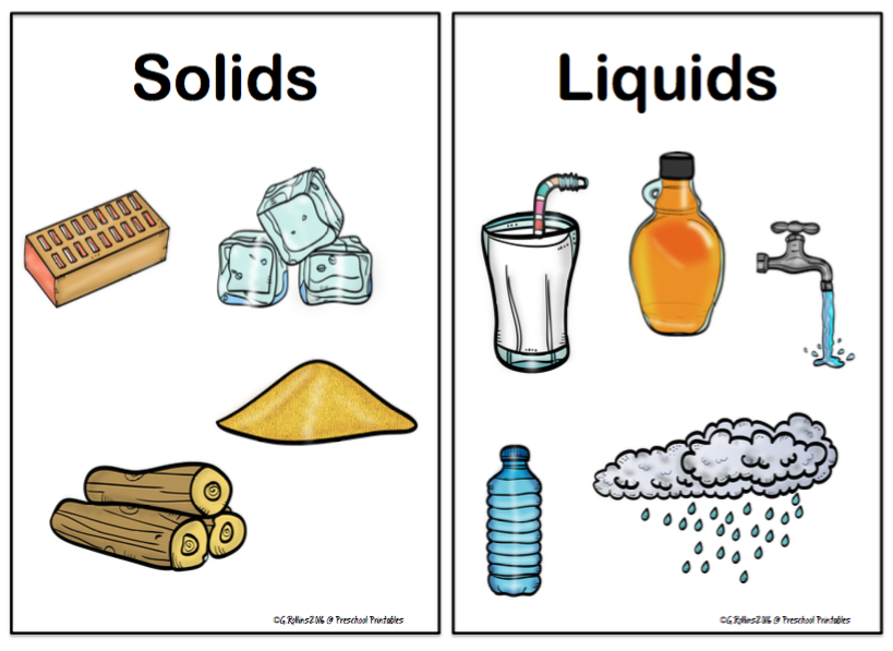 Solids Or Liquids Printable on Body Parts Picture Word Cards
