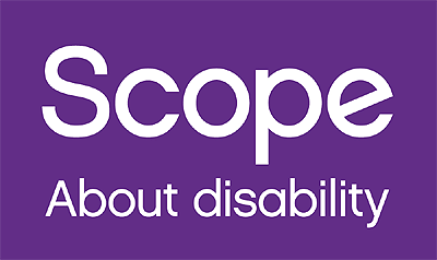 Scope About disability. White text on purple background.