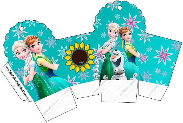 Caja para cupcakes, chocoltes o golosinas de Frozen Fiebre Congelada.