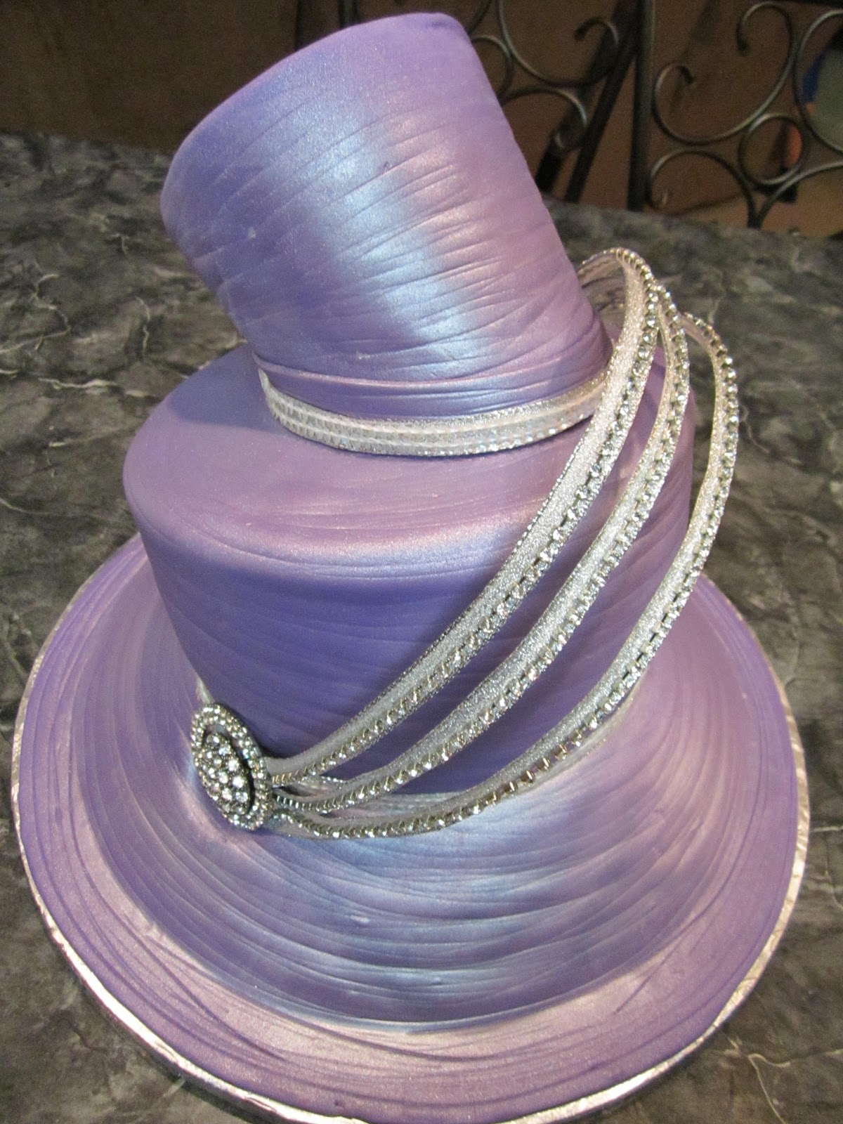 Mymonicakes Replica Of Purple Fancy Hat Cake With Crystal
