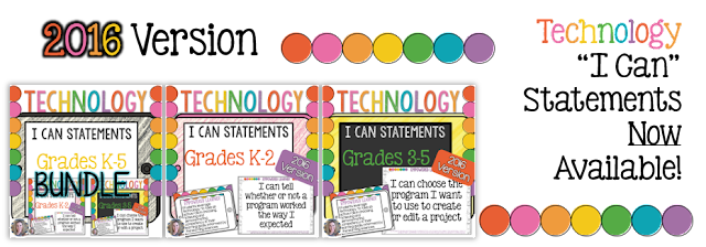You might be wondering how to organize these. I use a pocket chart labeled with each grade level K-5. I've printed and laminated all of the I Can Statements. I keep the half-page sheets in a manila envelope, and the full page posters in a binder when they aren't in use. I choose 1 or 2 of the statements for each grade level each week