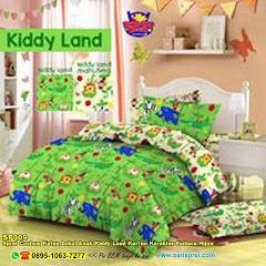 Sprei Custom Katun Lokal Anak Kiddy Land Kartun Karakter Pattern Hijau