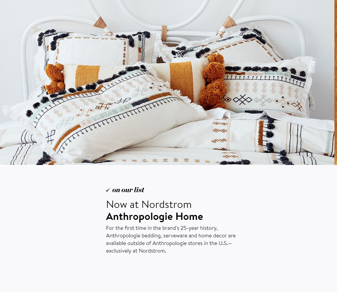 Anthropologie announces Anthropologie Home at Nordstrom :: Notes from Urban Outfitters Q4 2018 results :: Effortlessly with roxy