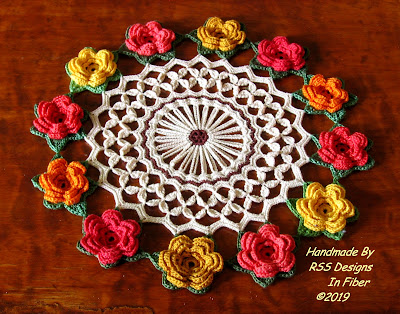 Bold and Bright Red and Coral Irish Rose Doily
