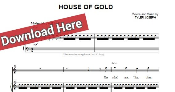 twenty one pilots house of gold sheet music chords piano notes. Black Bedroom Furniture Sets. Home Design Ideas