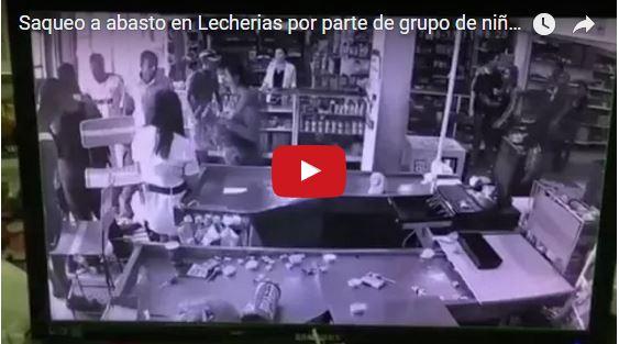 Niños armados saquearon un abasto completo en lecherías