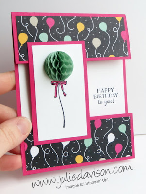 VIDEO: Cut Apart Card Tutorial with Sale-a-Bration Honeycomb Happiness Birthday Balloon card  #GDP023 #stampinup #saleabration www.juliedavison.com