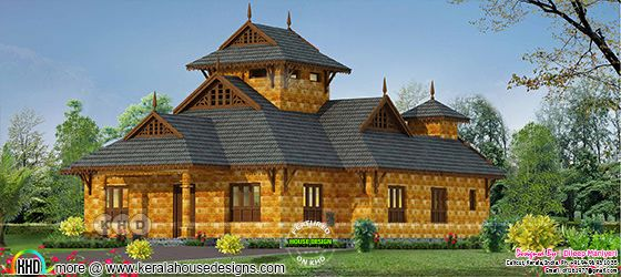 Traditional laterite stone Kerala home 1468 sq-ft