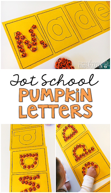 Building letters with mini pumpkin erasers is a fun way to practice letters and fine motor skills with a Halloween theme. Great for tot school, preschool, or even kindergarten!