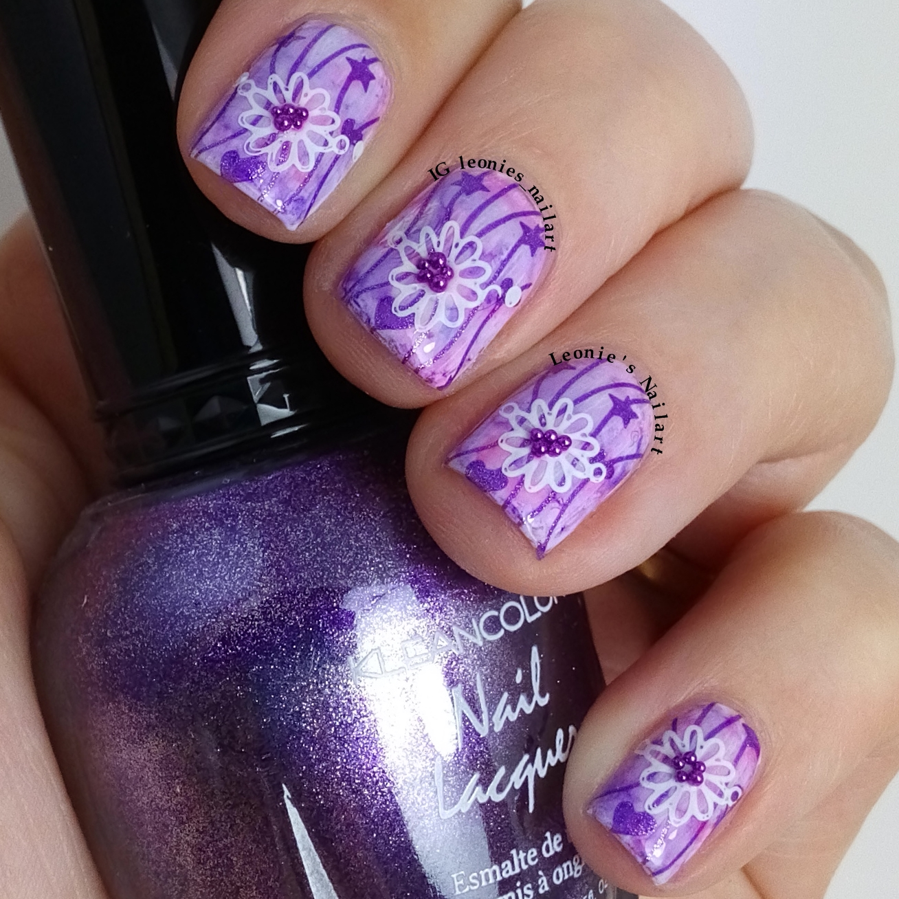 Leonie's Nailart: Purple Sharpie with stamped flower ...