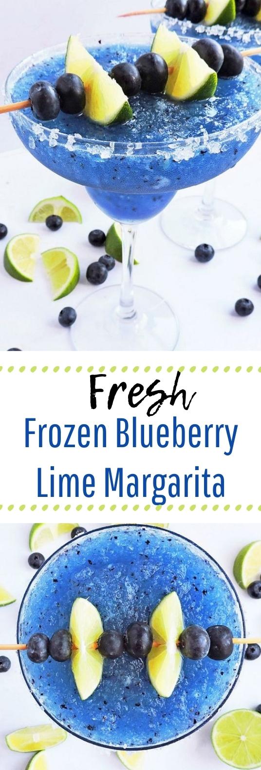 Fresh Frozen Blueberry Lime Margarita #deliciousdrink #drinks