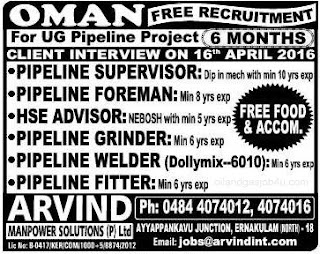 Free recruitment to UG pipeline project Oman