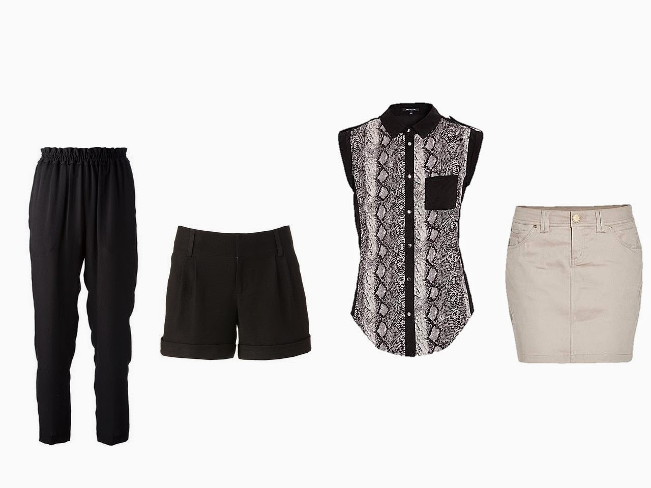 four fundamental garments: black pants, black shorts, black and beige top, beige skirt