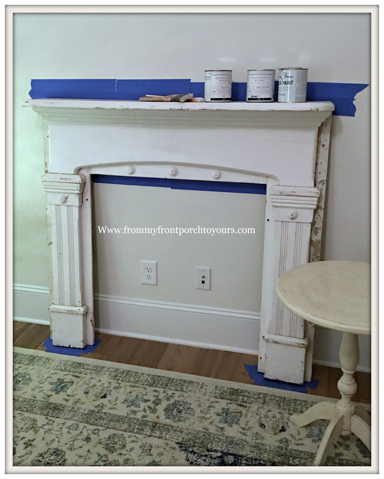 Vintage Fireplace Mantel Makeover DIY Review French Farmhouse Magnolia Home  Chalk Style
