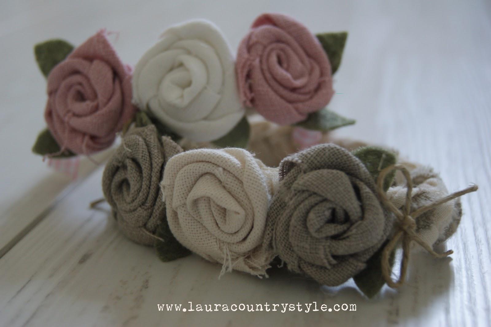 Laura Country Style Romantiche Rose Di Lino