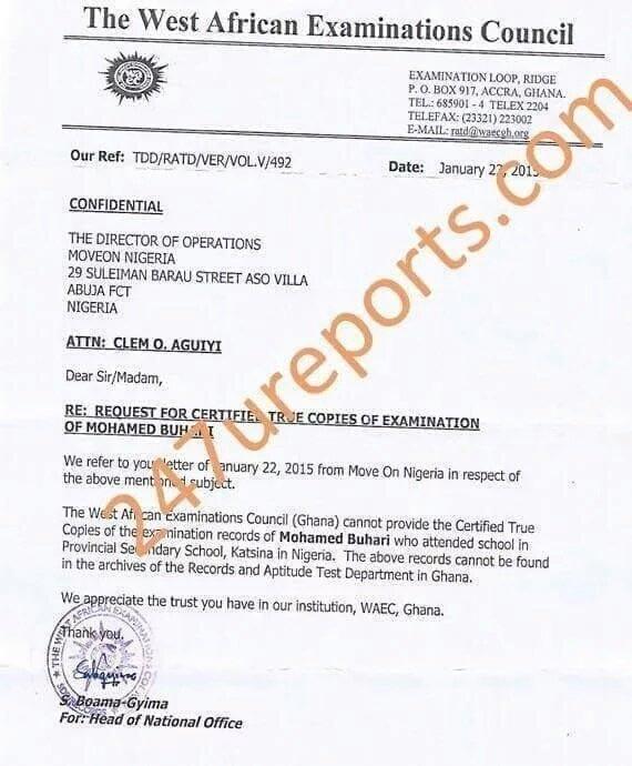 WAEC writes Nigeria, says there's no record of Buhari's result