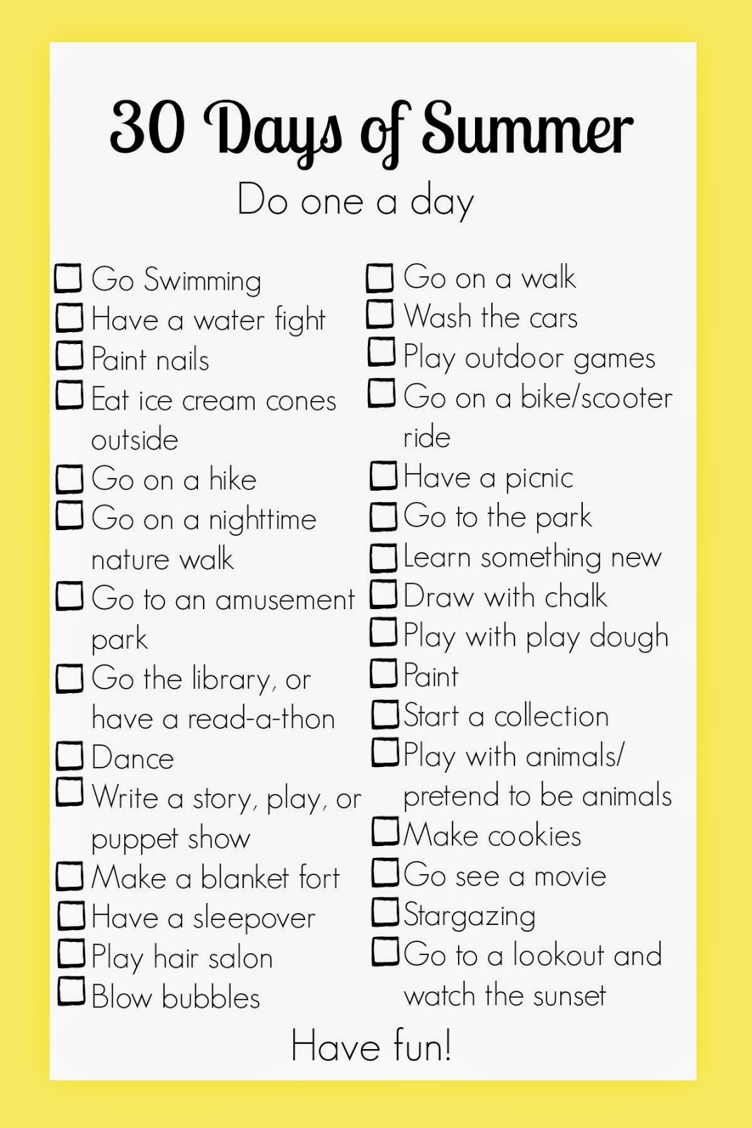 Pinning With Purpose 30 Days Of Summer Activities