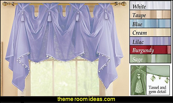 Tassel Sheer Scoop Valance Curtains   I Dream of Jeannie theme bedrooms - Moroccan style decorating - Jeannie bedroom harem style - Arabian Nights theme bedrooms - bed canopy - Moroccan stencils - I dream of Jeannie bottle - satin bedding - throw pillows - Moroccan furniture