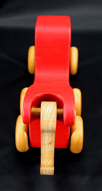 Handmade Wooden Toy Tow Truck From The Quick N Easy 5 Truck Fleet - Red Version - Top Rear View