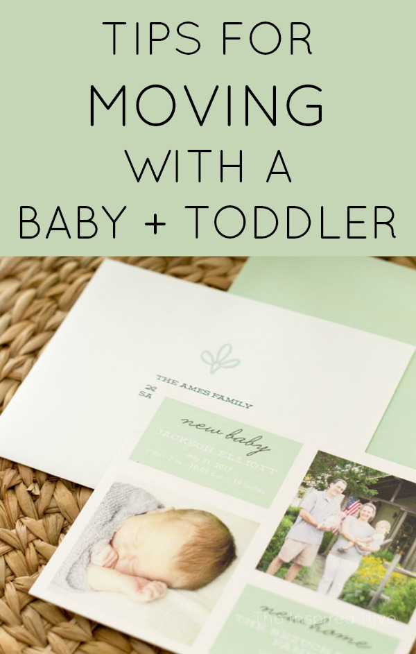 Keep your sanity while moving with a baby and toddler! Great tips and resources for moving with two kids under age two!