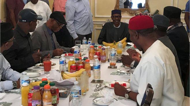 Nigeria's President Buhari seen in London