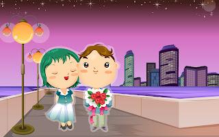 Gambar kartun memberi bunga