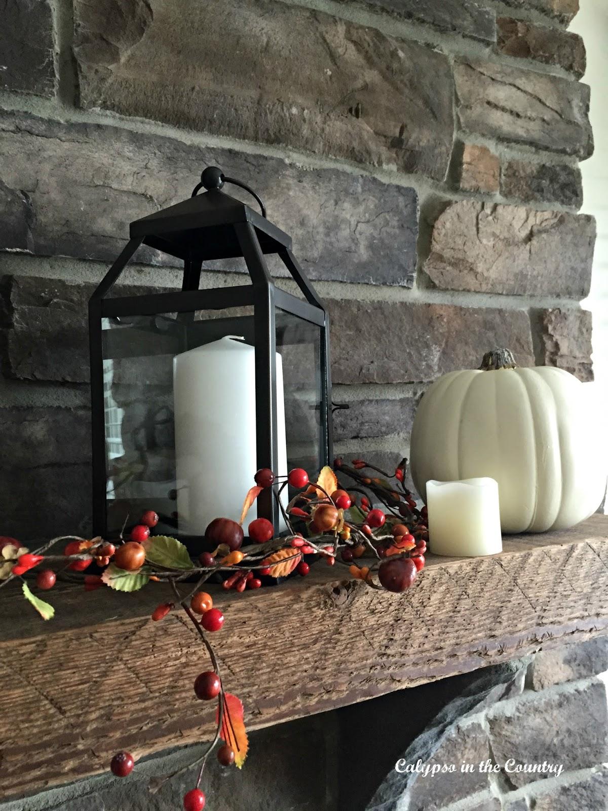 October mantel - fall ideas using white pumpkins