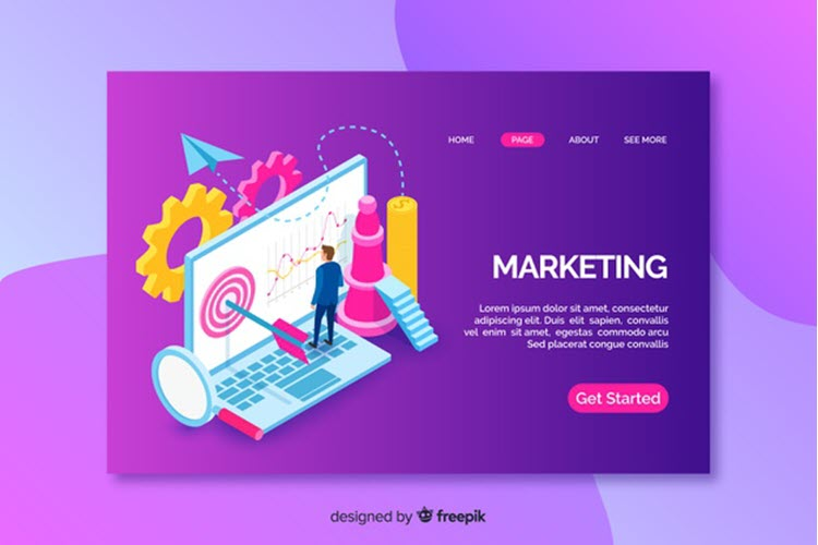 Download Wallpaper Landing Page With Isometric Marketing Laptop