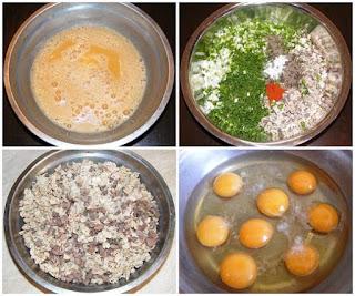 preparare compozitie pentru drob, organe de miel fierte si tocate amestecate cu verdeata proaspata si oua cu condimente, retete culinare,